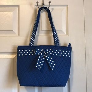 Handbags - Blue and White Polka Dotted Purse